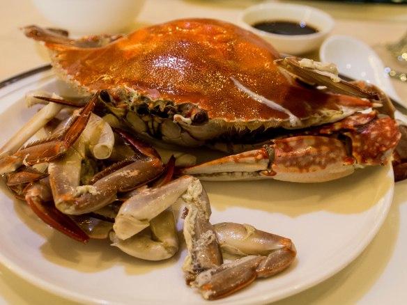 清蒸海蟹 qīngzhēng hǎixiè(Fresh steamed ocean crab)