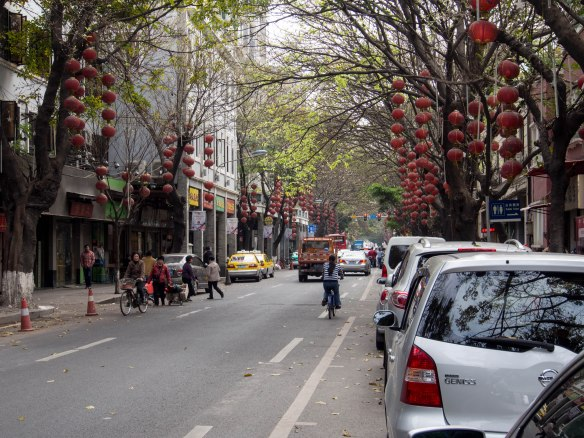 Guangzhou street just after Chinese New Year