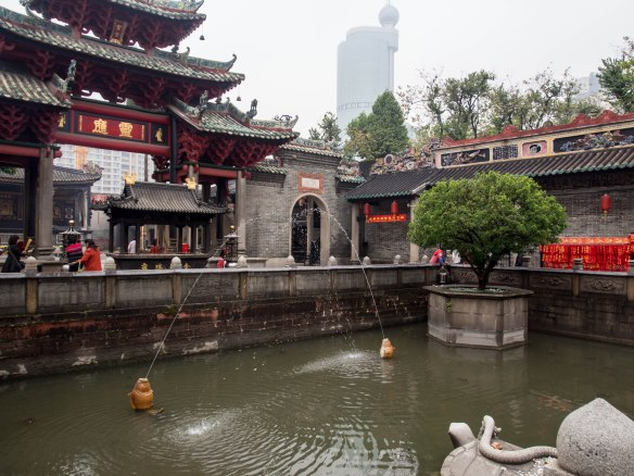 Ponds are common features at Buddhist temples and monasteries