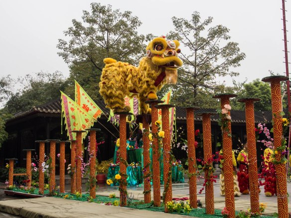 Martial artist doing a lion dance