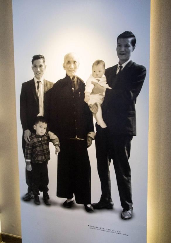 Photo of Yip Man with his two sons, Yip Ching and Yip Chun