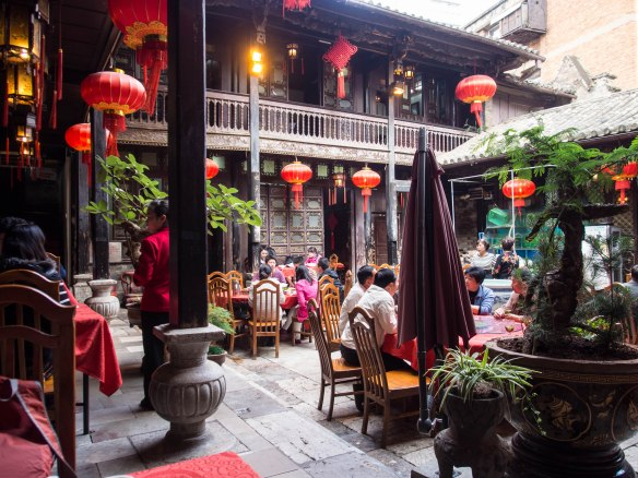 Eating in the courtyard.