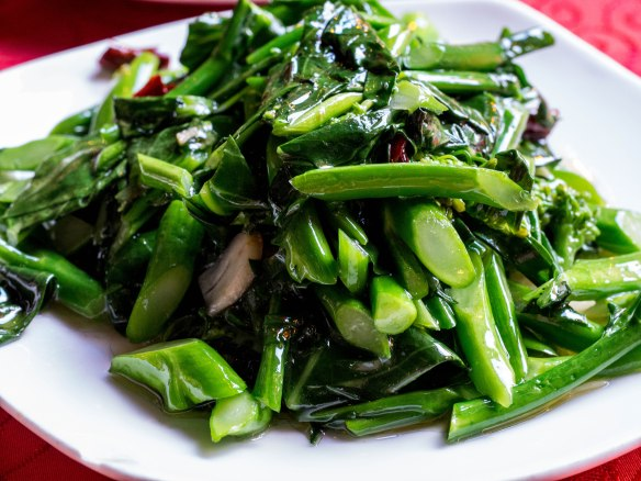 Chinese broccoli or mustard greens.