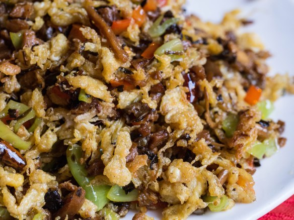 Chinese style scrambled eggs with pork and vegetables.